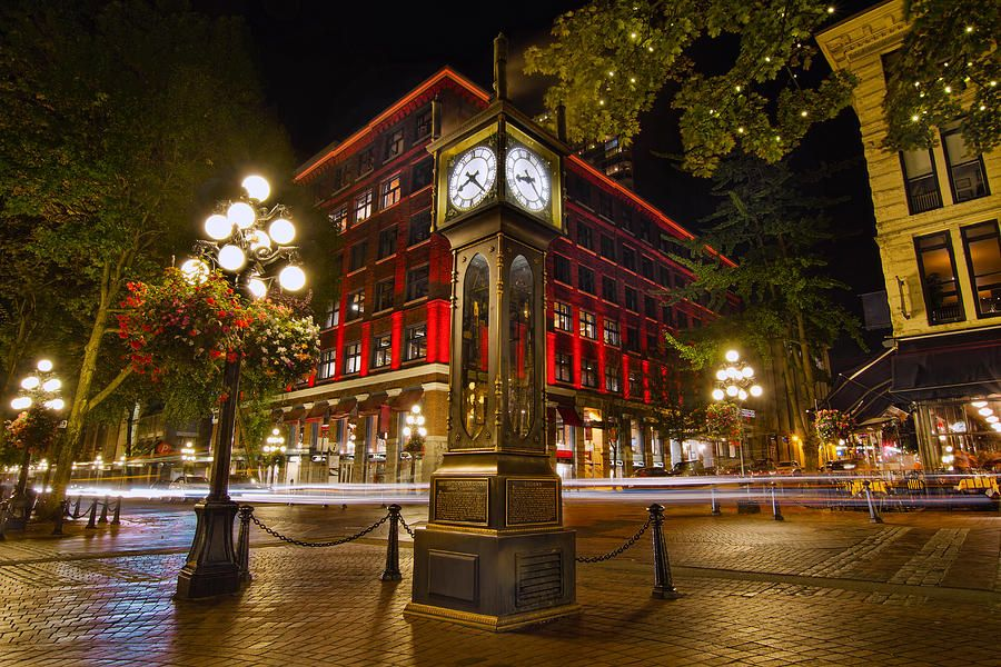 Victorian Steam Clock In Gastown Vancouver BC, Canada